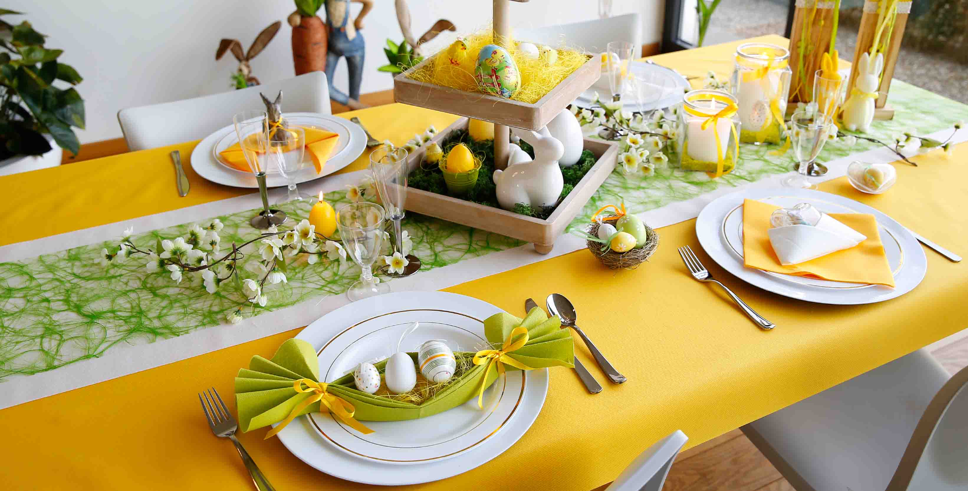 A brigh fabric easter table