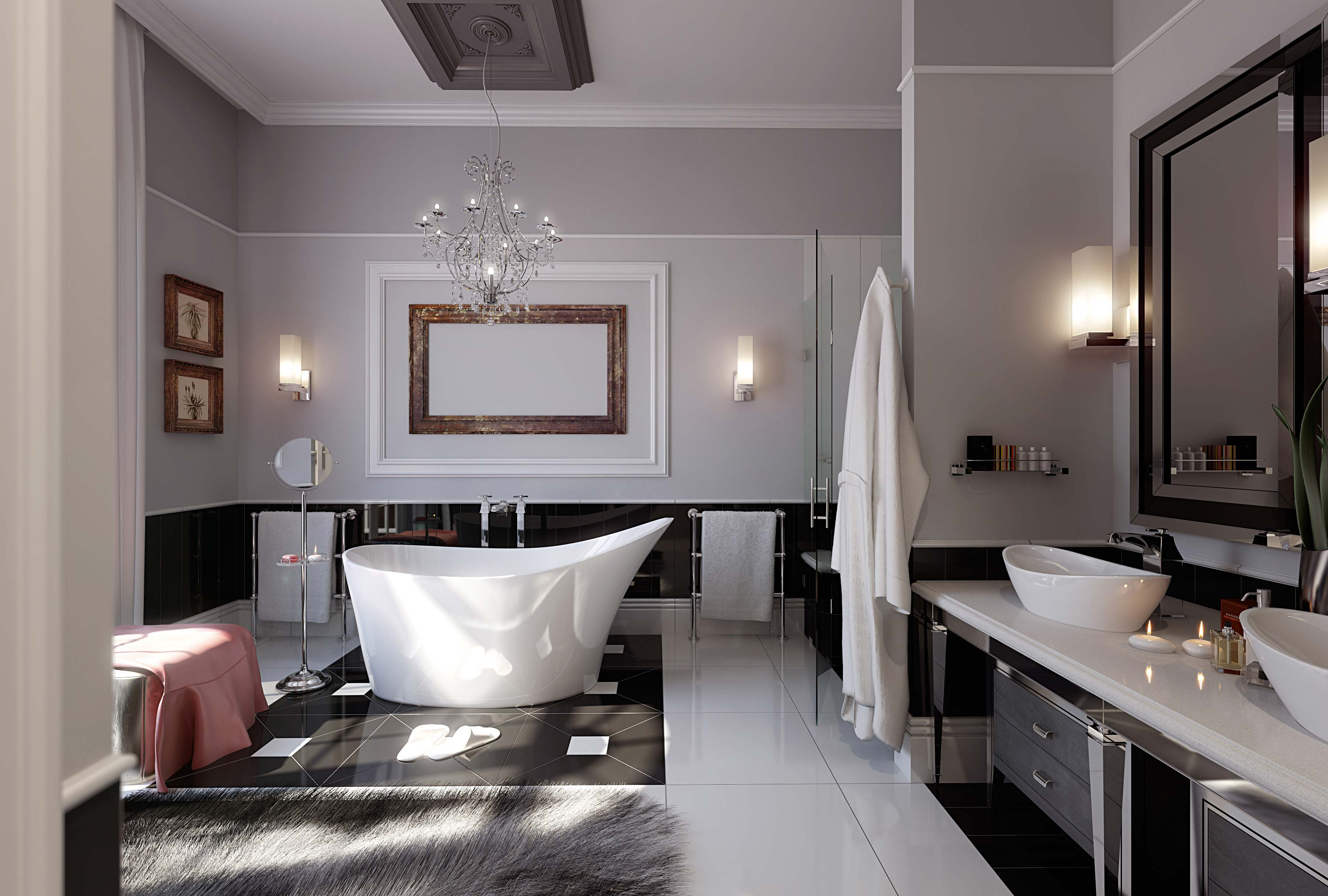 a fur rug in a bathroom of Best Modern Bathroom Inspirations
