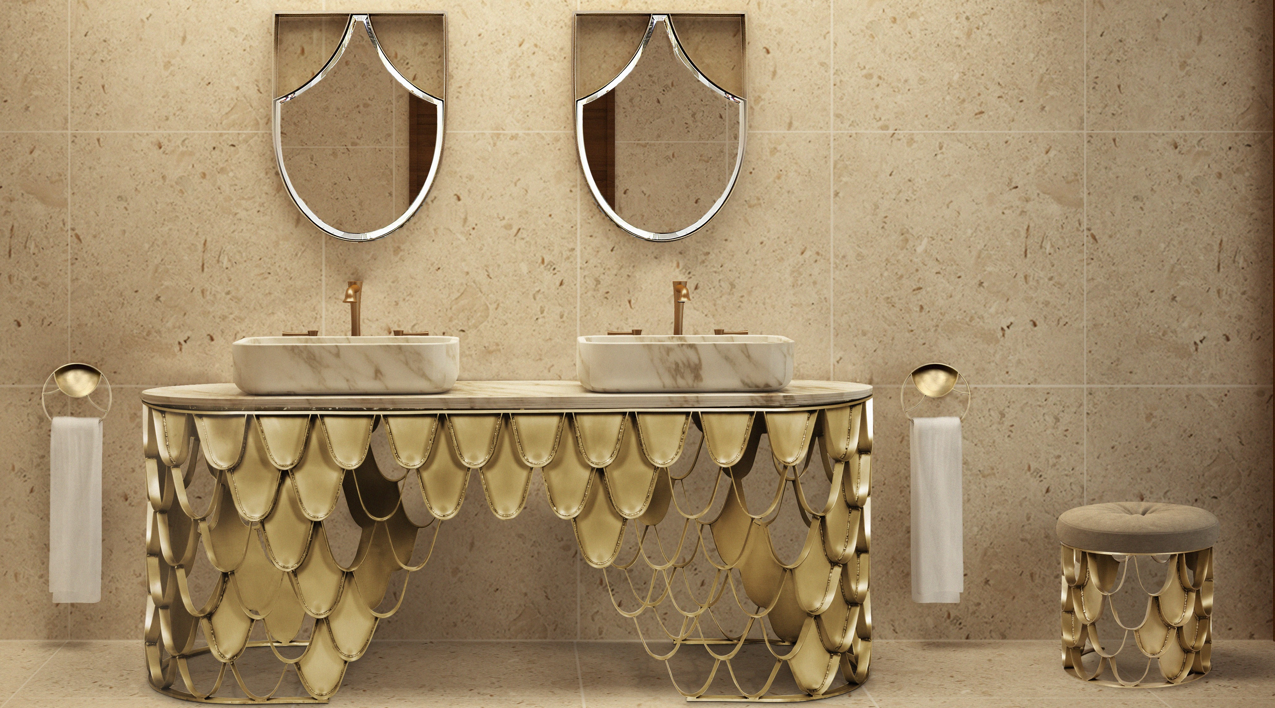 marble elements of Best Modern Bathroom Inspirations