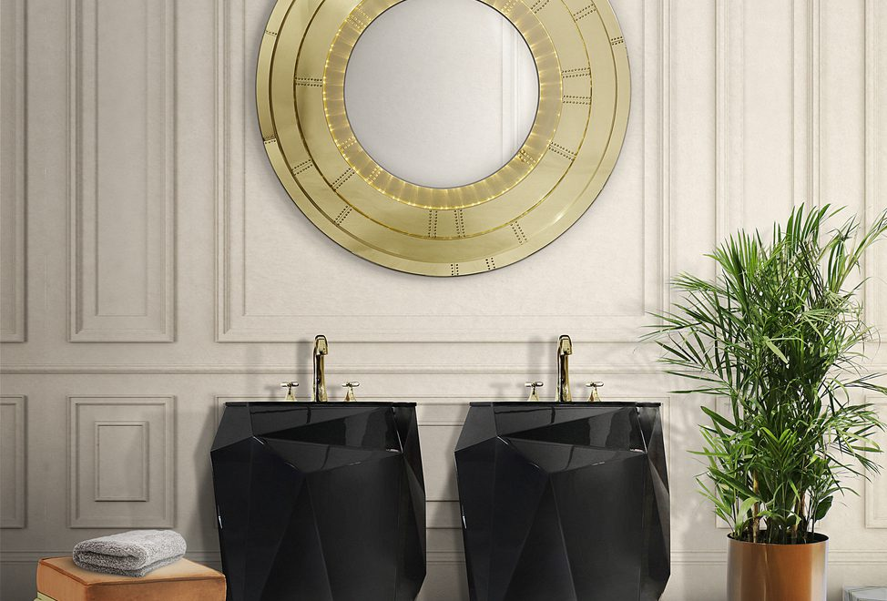 golden deatails in a bathroom of Best Modern Bathroom Inspirations