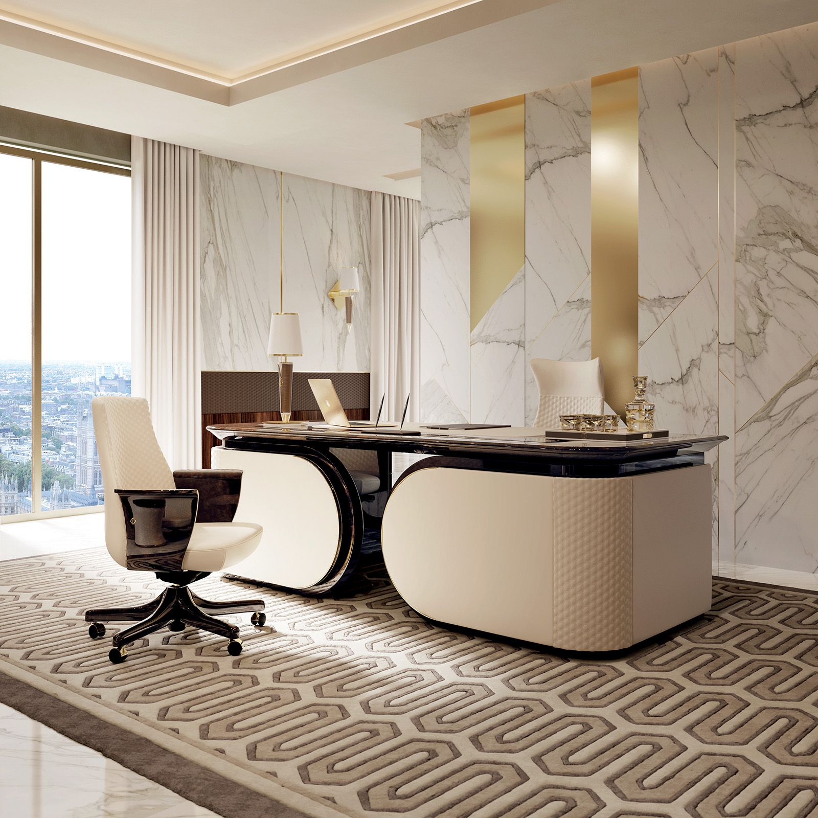 monochromatic office of inspirational office ideas
