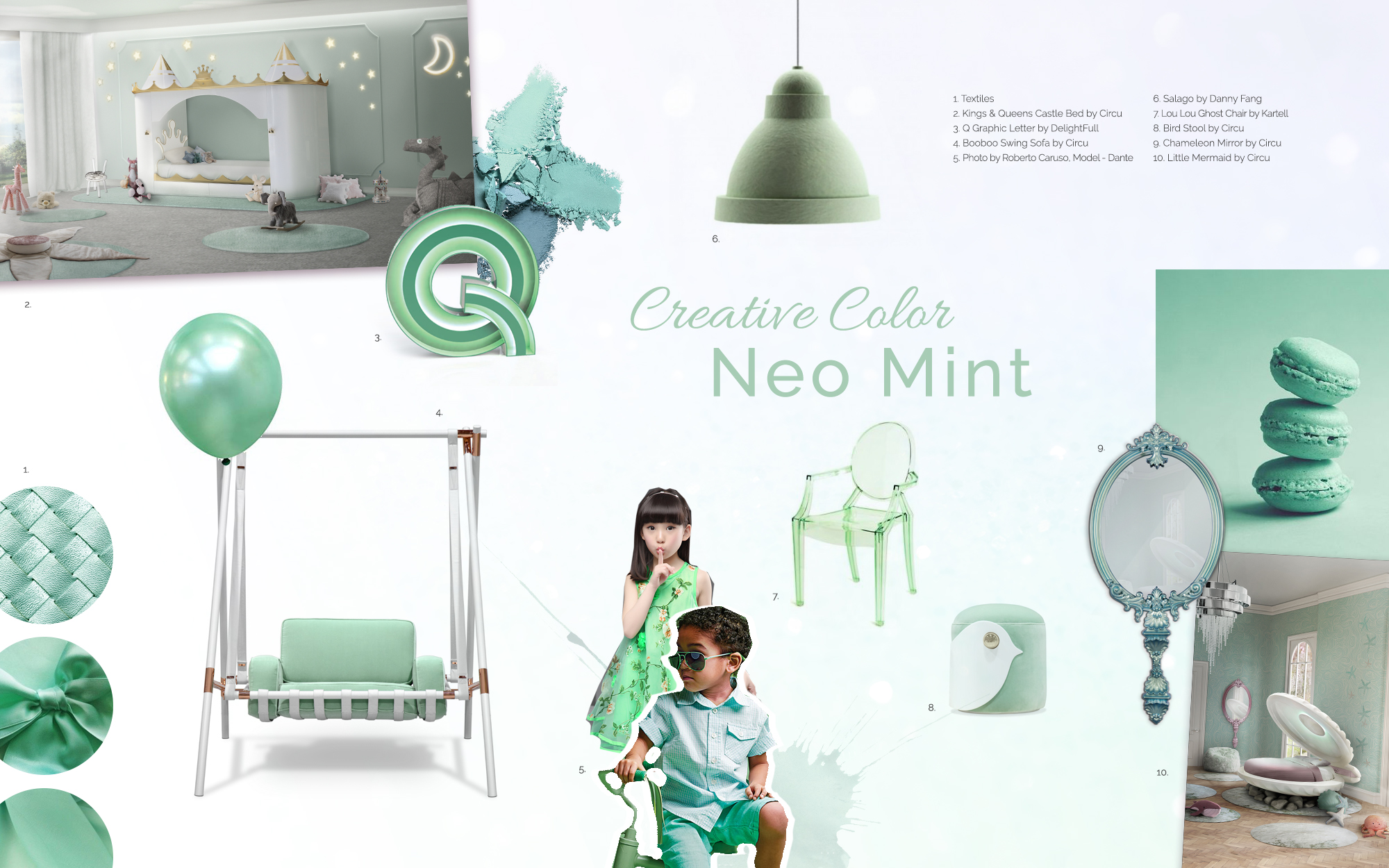 A moodboard based on the neo mint interior winter trend.