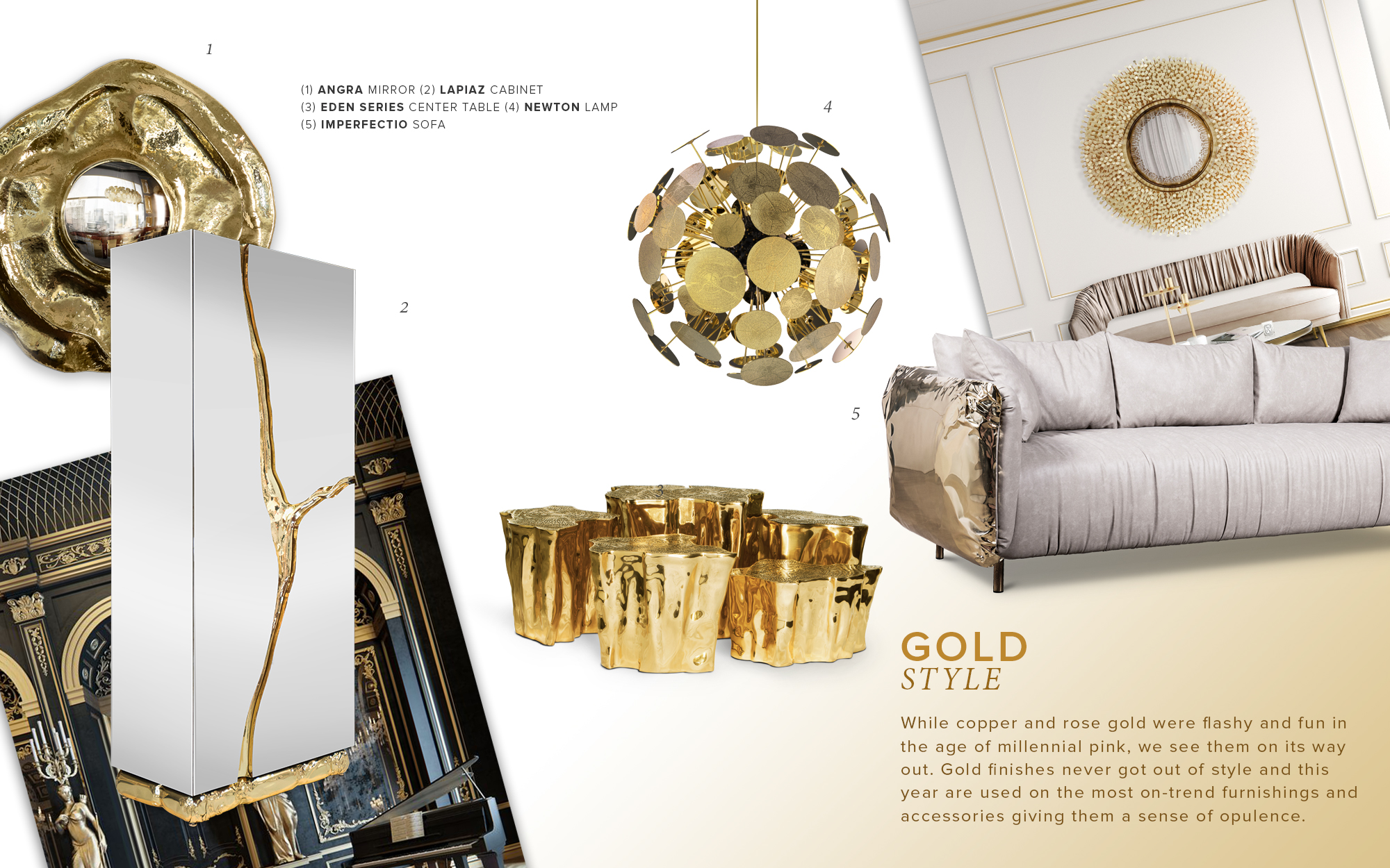 A moodboard based on the gold interior winter trend.