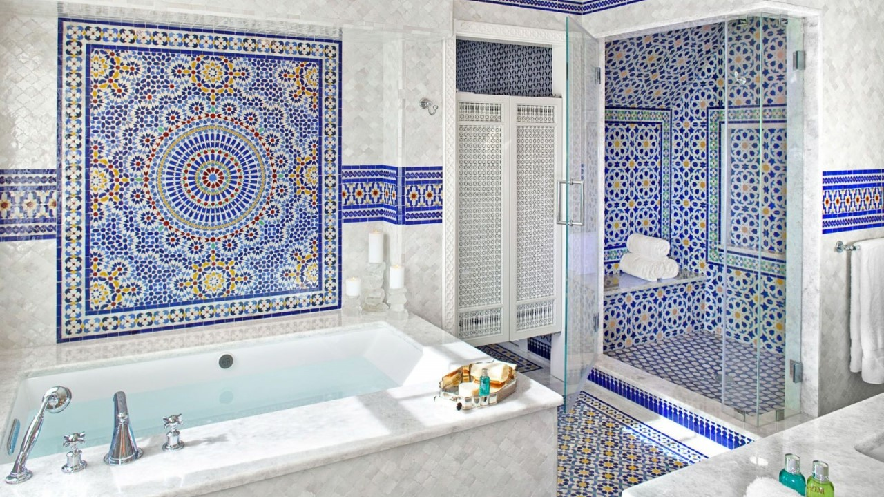 a moroccan themed bathroom of Blue bathroom inspirations for your design project