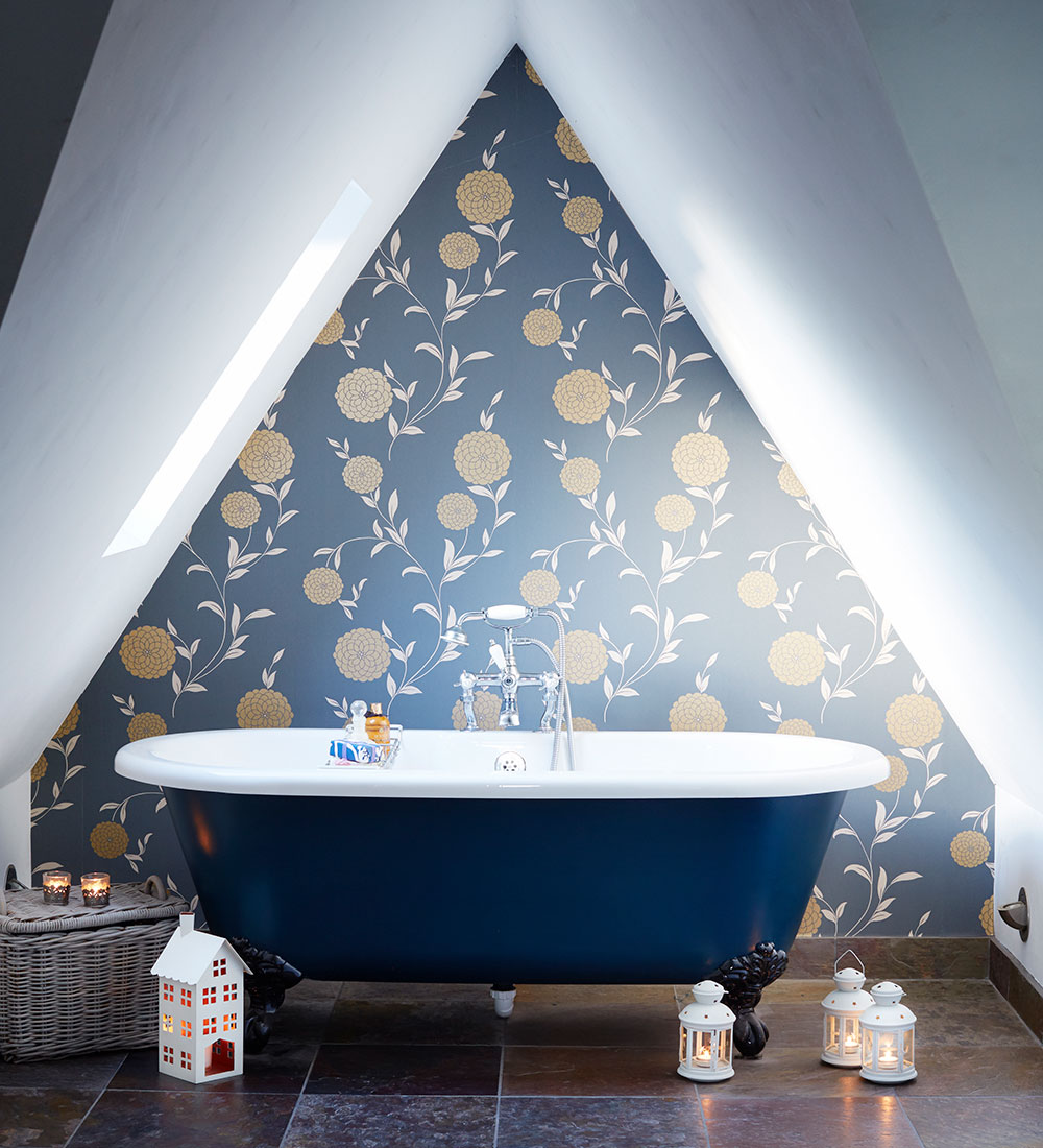 A blue bathtub of Blue bathroom inspirations for your design project