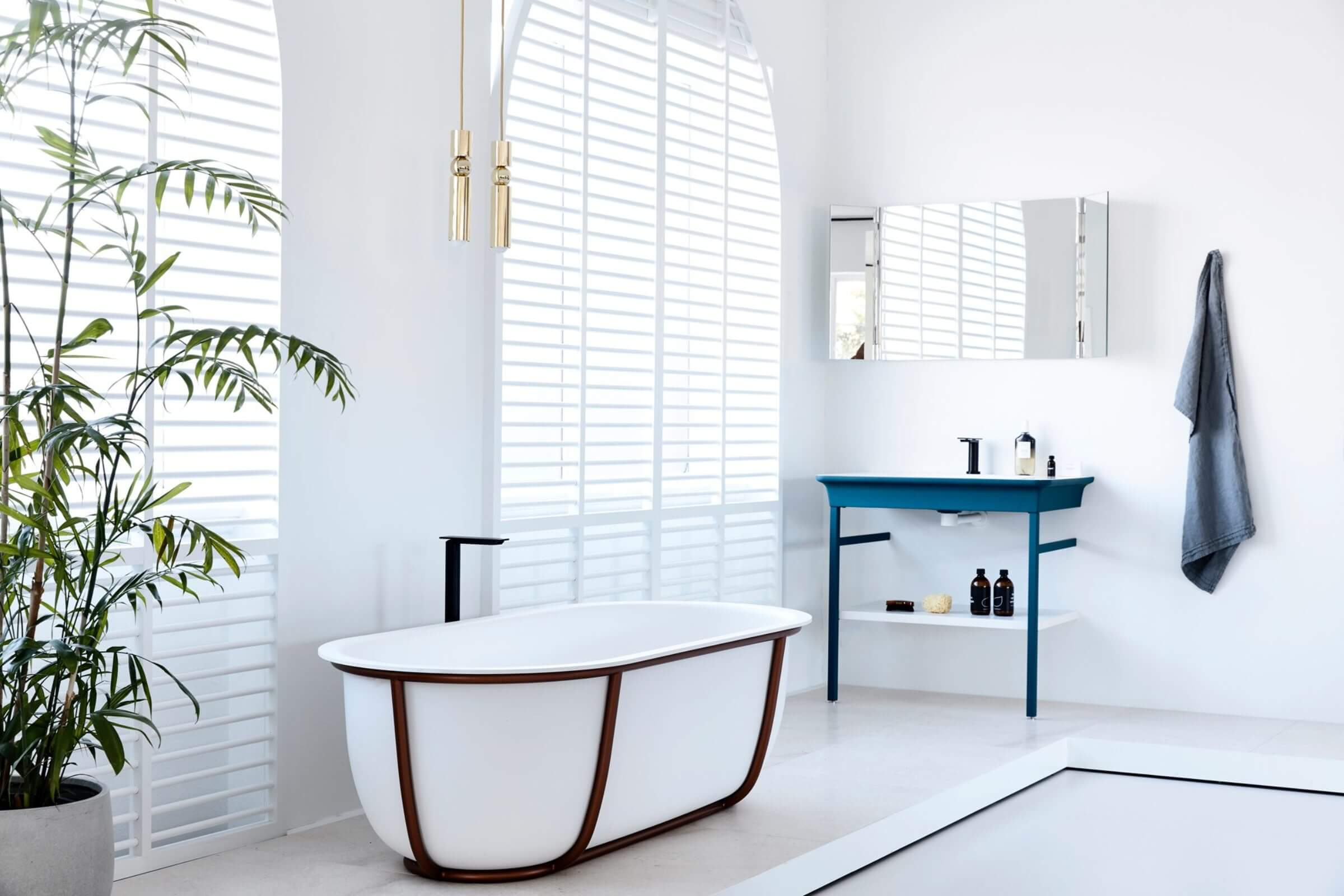 A bright blue element of Blue bathroom inspirations for your design project