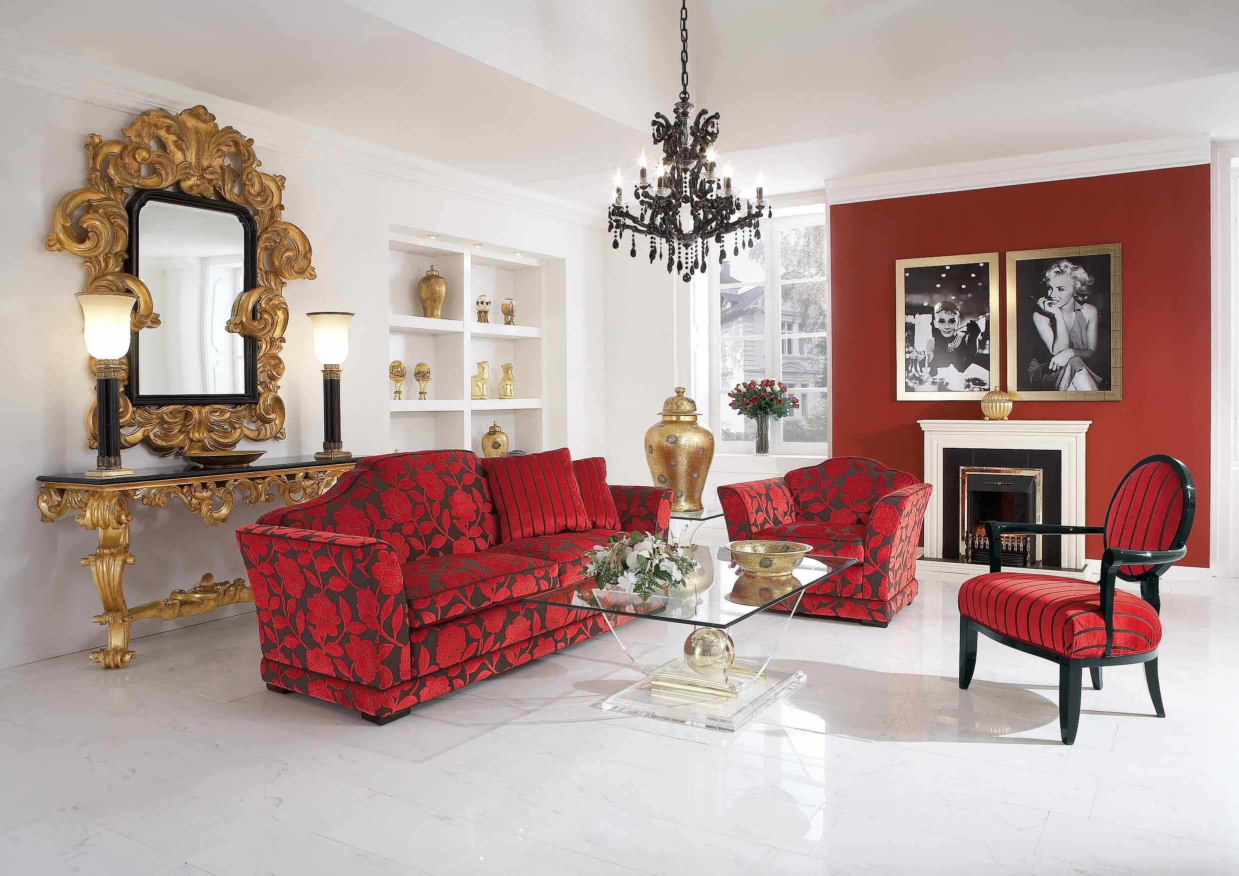 red living room of The Color red article