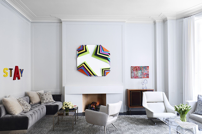 living room with art pieces
