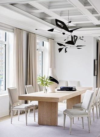dining room with big wondows