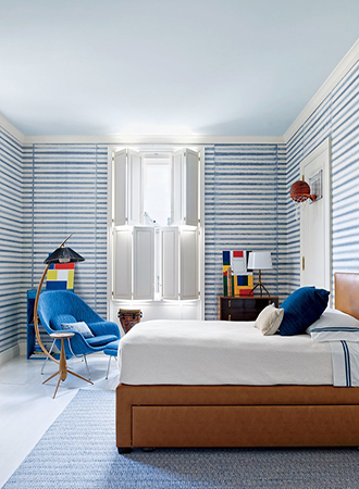 bedroom with striped walls
