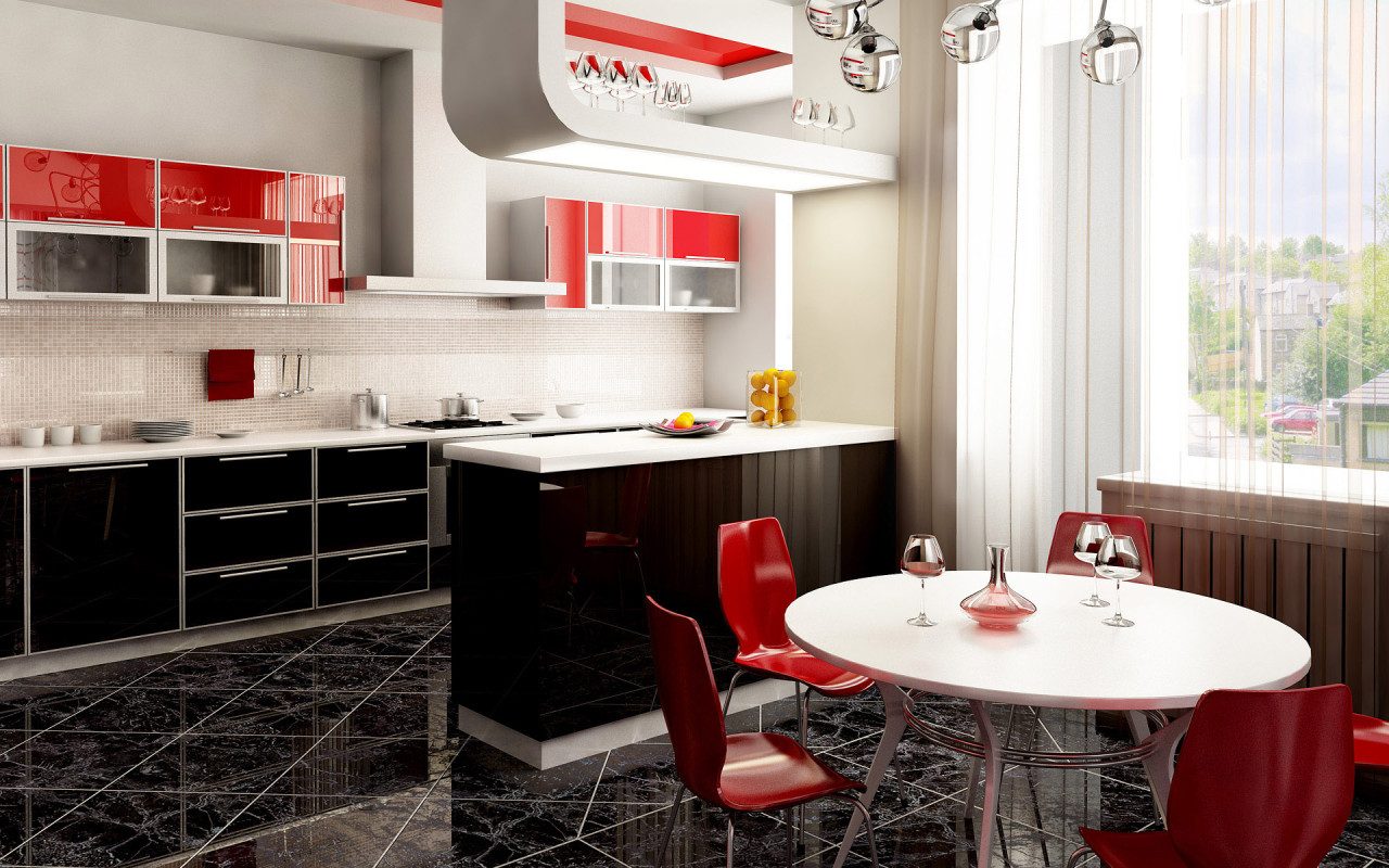 red accent kitchen of The Color red article