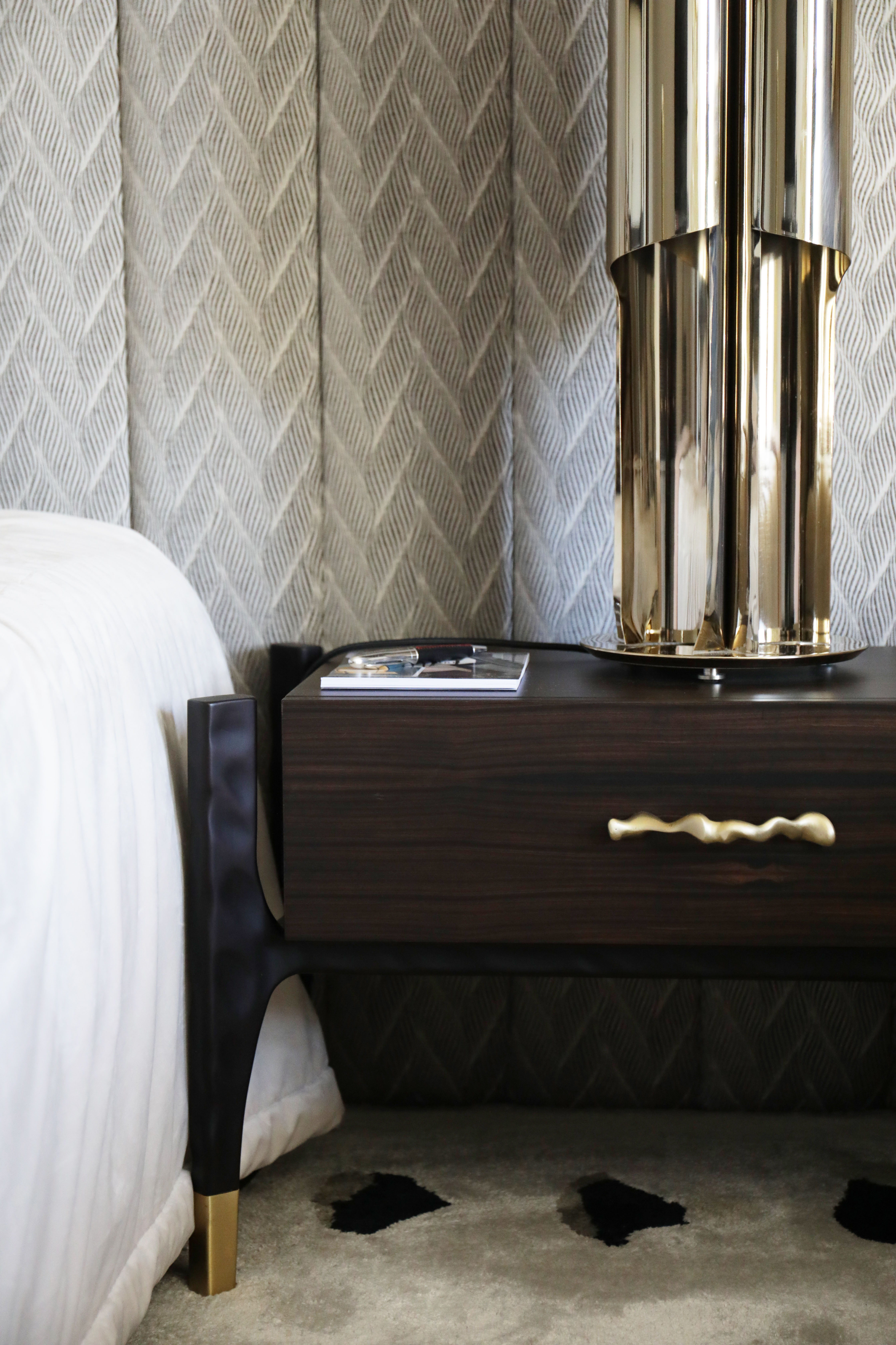 Pattern and Gold detailed bedroom