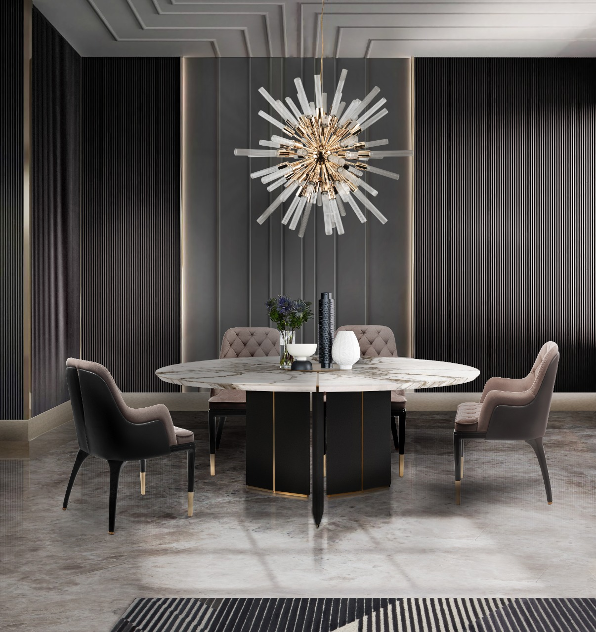 Dining room with Luxxu Lighting and Luxxu Home