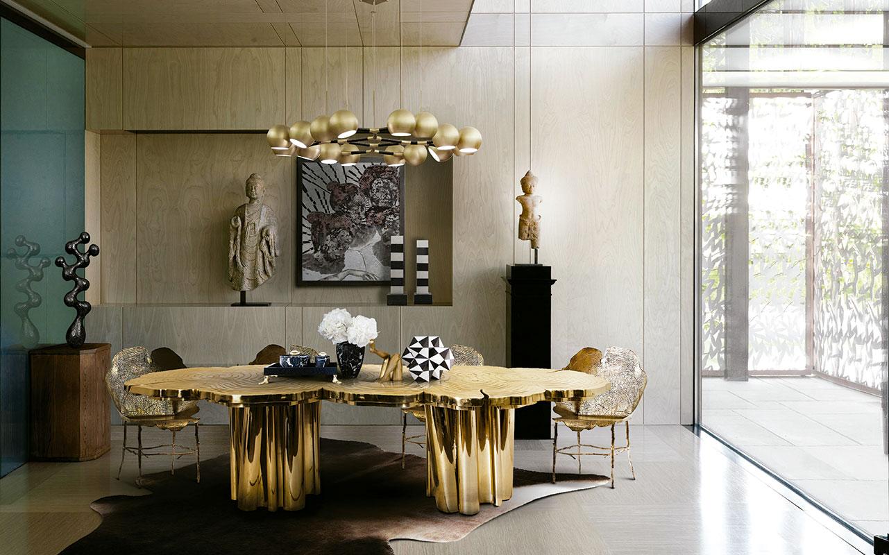 MODERN EXOTIC GOLD DINING ROOM BY BOCA DO LOBO , BRABBU