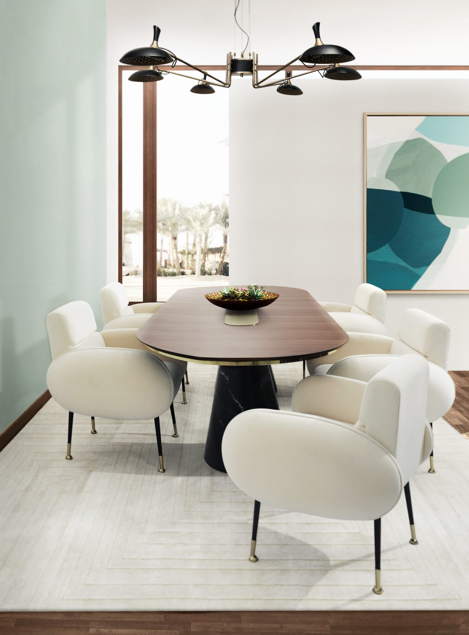 80's design Pastel dining room